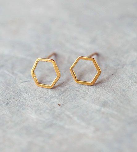 Open Hexagon Stud Earrings by Elaine B Jewelry on Scoutmob