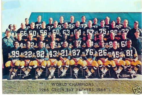 1966 ~ Green Bay Packers (vs. Dallas Cowboys) ~ The 1966 National Football League Championship Game determined the NFL's champion, which would meet the AFL's champion in Super Bowl I, then formally referred to as the first AFL-NFL World Championship Game. It was the first NFL title game played after the AFL-NFL Merger was announced in June 1966 ~ http://en.wikipedia.org/wiki/1966_NFL_Championship_Game