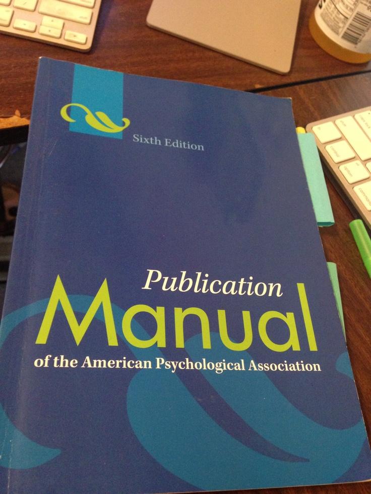 APA Manual 6th Edition.