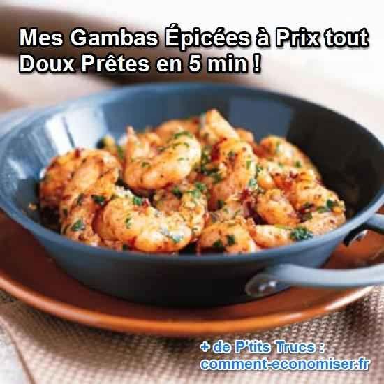 Quelques gousses d'ail, une pincée de curry, de curcuma et un brin de persil. Et hop, le tour est joué en 5 min pour un prix très raisonnable. C'est une succulente recette très facile à réaliser, parfaite pour recevoir des invités sans se prendre la tête. Regardez :-)  Découvrez l'astuce ici : http://www.comment-economiser.fr/gambas-epicees-prix-doux.html?utm_content=buffer6bda7&utm_medium=social&utm_source=pinterest.com&utm_campaign=buffer