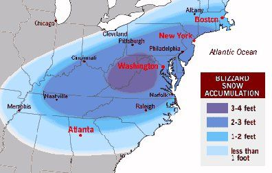 The Blizzard of '96 - Snow Map