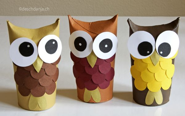 Sophie, Julia and Clara, the 3 owl ladies (toilet paper rolls, acrylic paint and paper) www.deschdanja.ch