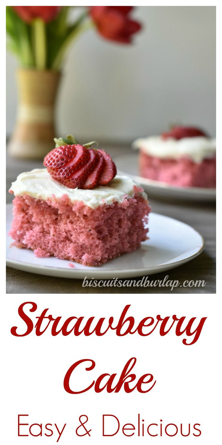 Uses fresh strawberries & a box mix for the perfect strawberry cake!
