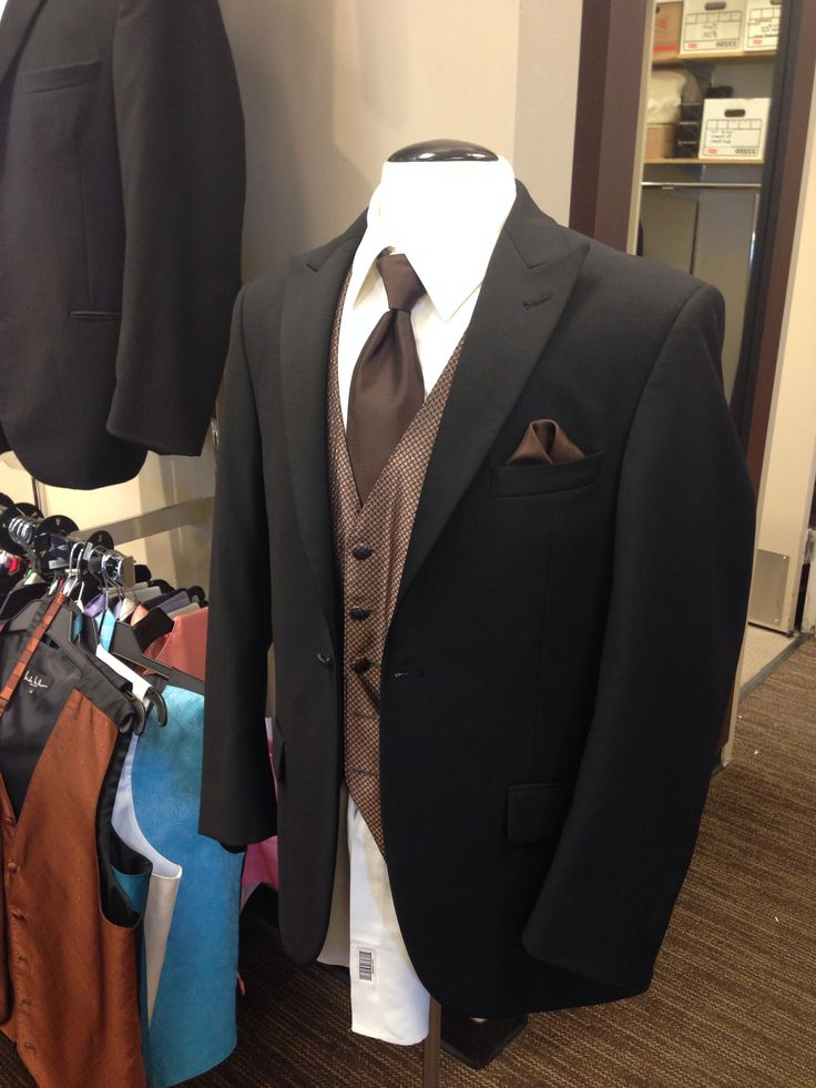 Grooms men's tux -  Men's Wearhouse - truffle brown tie, vest, and pocket square, black Vera Wang jacket and pants, off-white shirt