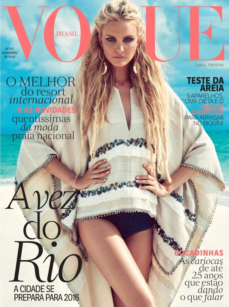 Caroline Trentini wears swimsuits and jackets Pose on Vogue Brazil Magazine November 2015 cover shoot