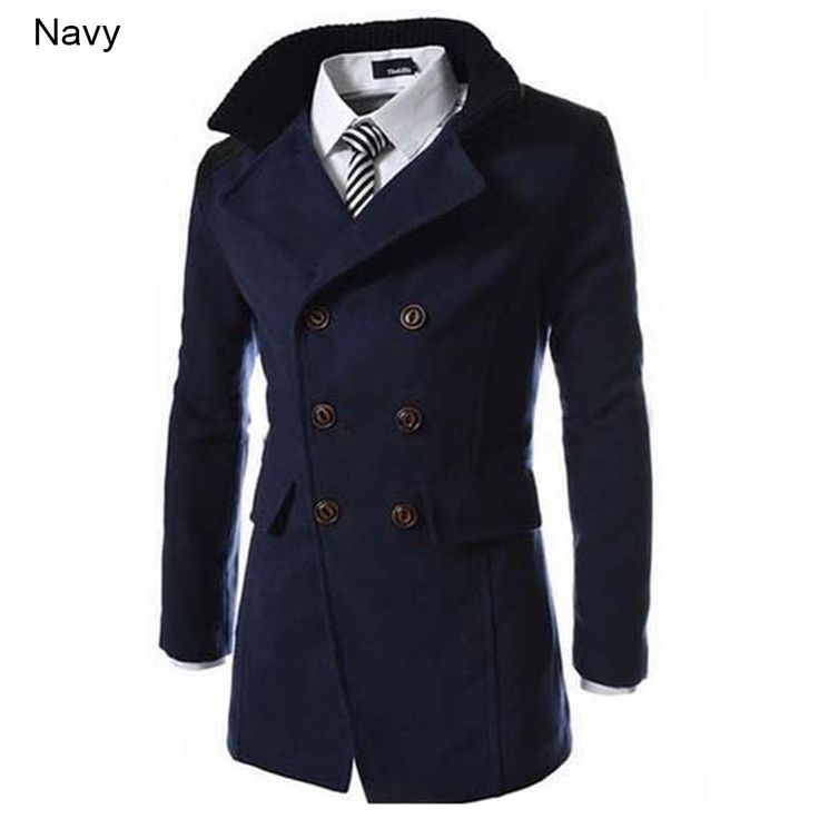 >> Click to Buy << New Fashion 2015 Double-breasted Winter Men Trench Coats Long Slim Stylish Solid Woolen Men Trench Overcoat 3 Colors M-3XL #Affiliate