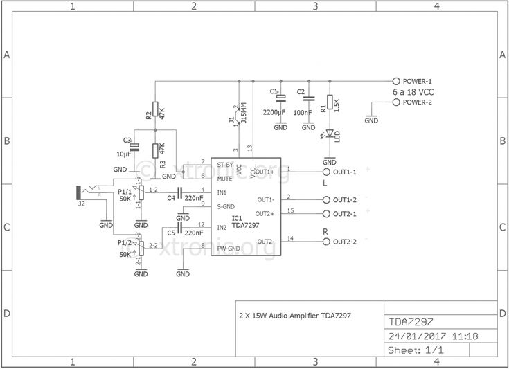 Stereo Power audio amplifier with TDA7297 - 2 x 15 Watts ...