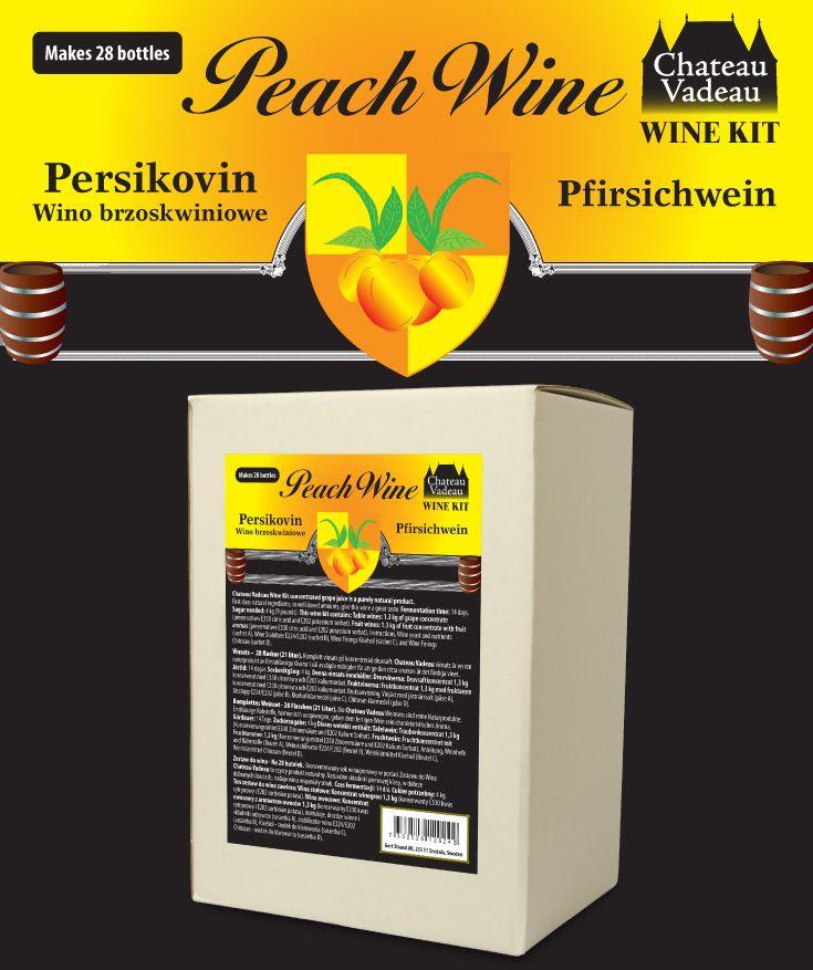 Chateau Vadeau Persikovin vinsats ger 21 liter - 28 flaskor a 75 cl - lättdrucket bordvin. Tillsätt vatten och 4 kg socker. Alla andra ingredienser medföljer.