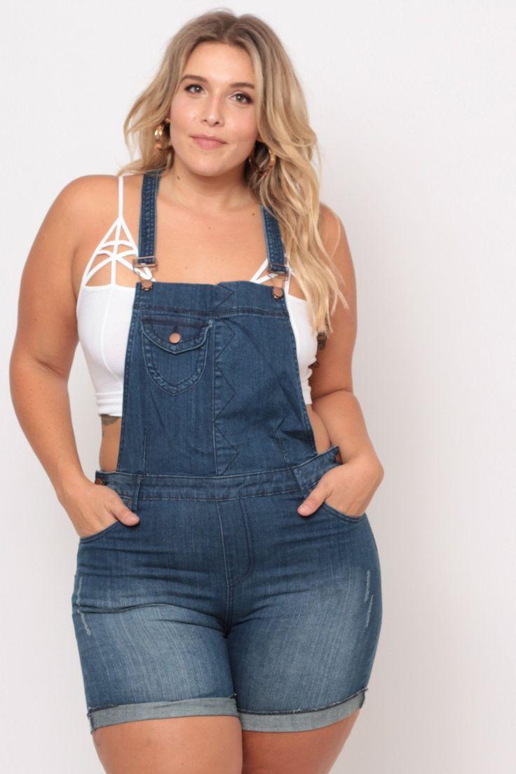 Plus Size Sandblast Overall Shorts - Denim