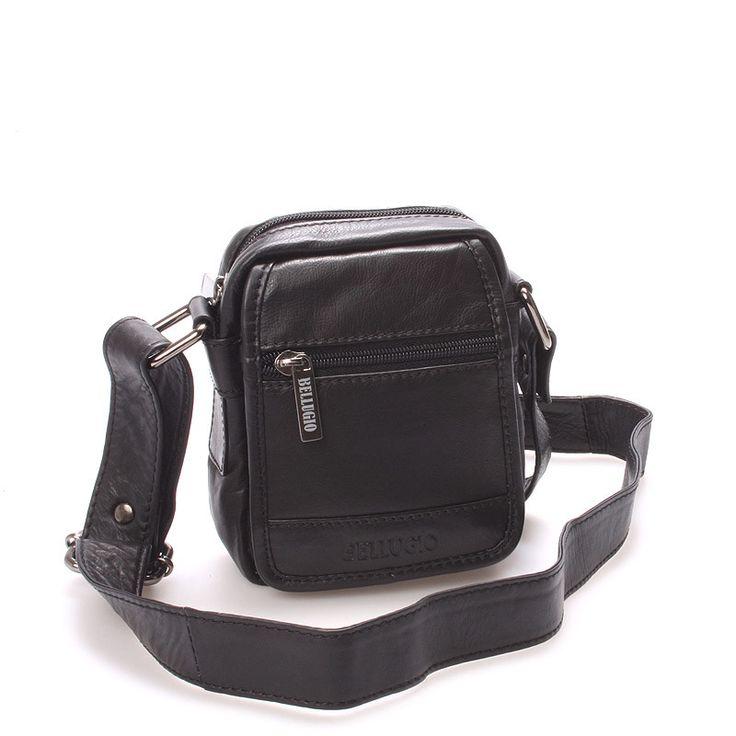 #BellugioFabio  Černá mini stylová kožená kabelka přes rameno Bellugio s nastavitelným popruhem. Ideální velikost pro toho, kdo si potřebuje uschovat nejdůležitější věci jako mobil, klíče, peněženku..