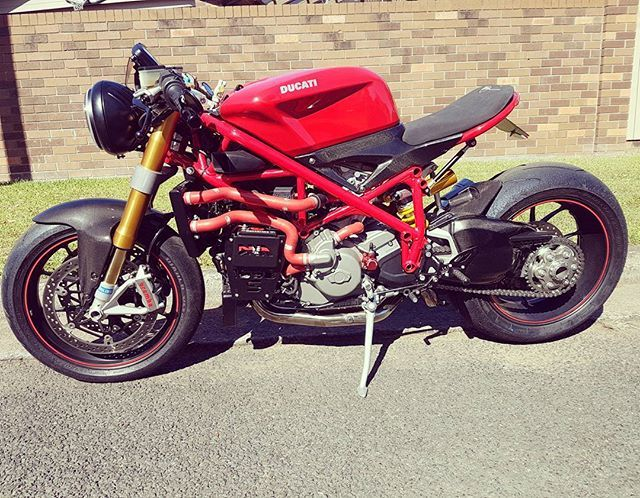 """Latest DnAcc creation, will post more pics in the next coming days #oberon bar end indicators and mirrors. #corsedynamics 7"""" #LED headlight #ducati999 controls #competitionwerkes muffler. The rest are all costom parts made inhouse. #ducati1098s #ducati #caferacer #caferacerxxx"""