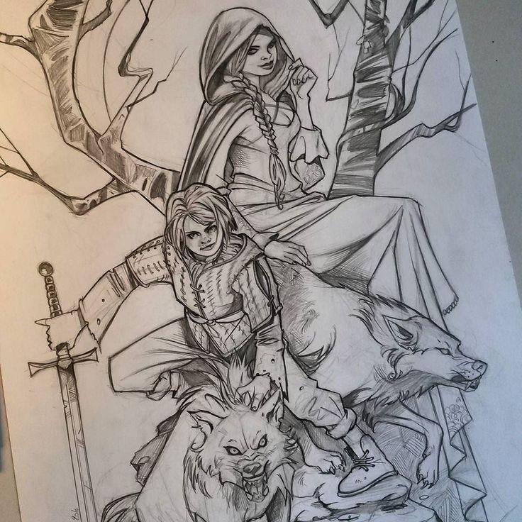regram @leilaleiz Two sisters fight #got #gameofthrones #sansastark #ariastark #wolves #commission #artistofinstagram #art #sketch #pencilart #pencildrawing #blade #comics #book #fantasy #hbo #tvseries #artist #drawing