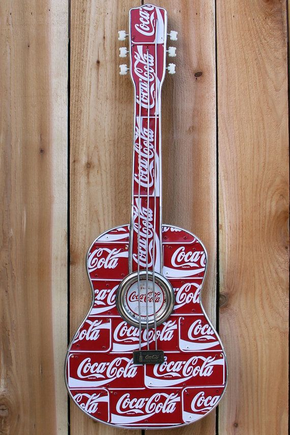 Coca Cola Handmade Guitar Art on Etsy, $175.00