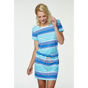 W Naid Dress. Summer is here, and so is our super nice short dress in a soft cotton/modal mix. A drawstring waist lends flattering volume to this casual jersey dress with a scoop neck, fold-up sleeves, and curved hemline with longer back. A must have to put on over your bikini or for lazy warm summer days.