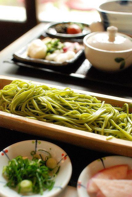 藤吉うどん[冷] by RaneHwa on Flickr. Matcha udon noodles, Uji, Kyoto, Japan