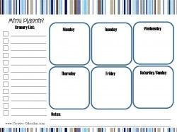 meal planning printable in blues and tans menu planning