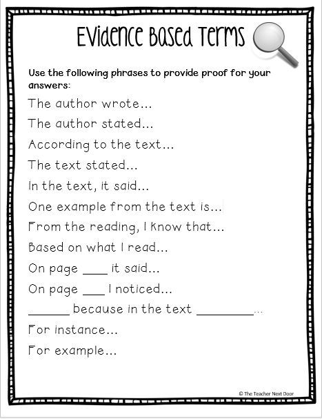 Text evidence sentence starters for students and lots of tips for teaching kids to cite text evidence in reading on Upper Elementary Snapshots: Citing Text Evidence in 6 Steps