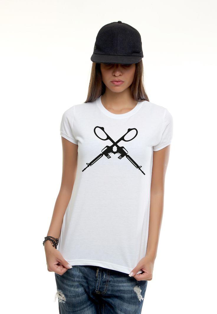 guns black tshirt    #vagrancylifestyle #handmade #tshirt #woman