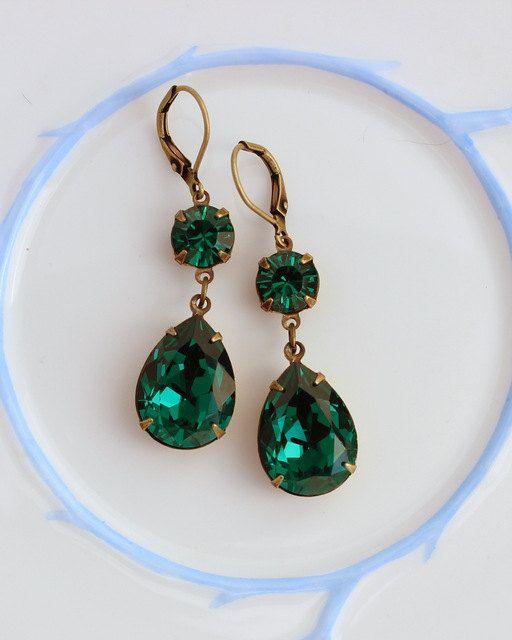 Swarovski Emerald earrings Estate style drop by CobblestoneAvenue
