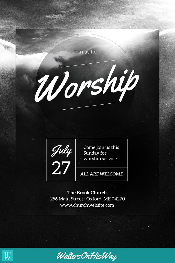 DIY Church Event Flyer Template - Heavenly Worship - (For Word & Photoshop)…