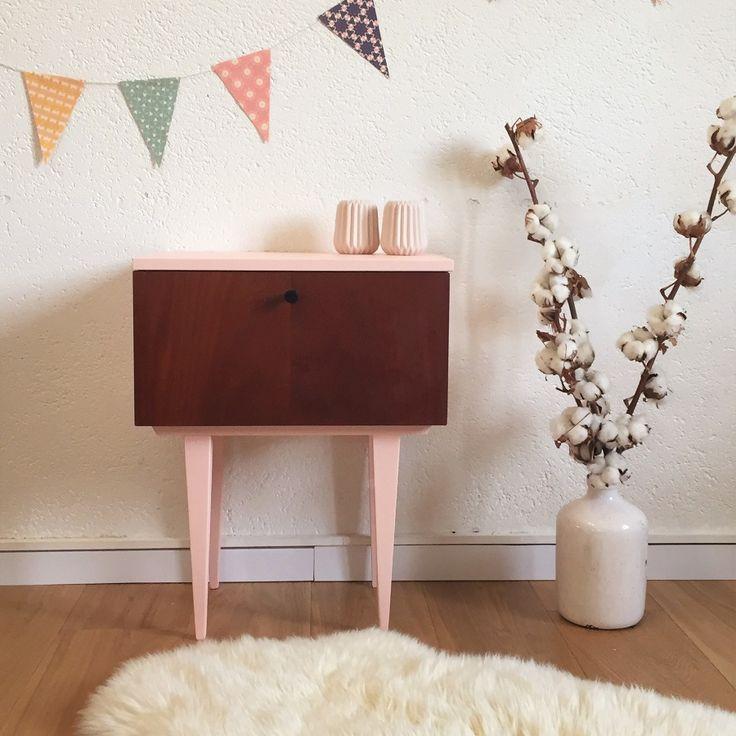 table de chevet vintage rose - Mid century modern bedside table, pink