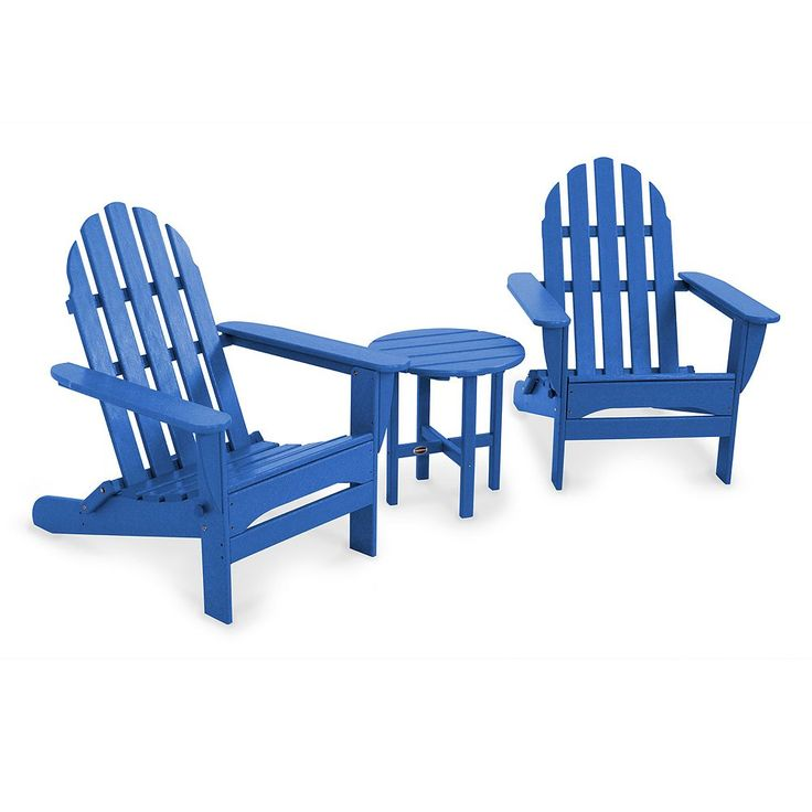 POLYWOOD 3-pc. Classic Folding Adirondack Chair and Table Set - Outdoor, Blue
