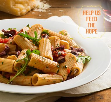 Rigatoni with Tomatoes, Arugula and Parmesan | For every Facebook share or download of our Pasta to the Rescue cookbook or its recipes, we're donating portions of pasta to food banks across Canada. Visit https://www.catelli.ca/en/feed-the-hope/ to learn more.