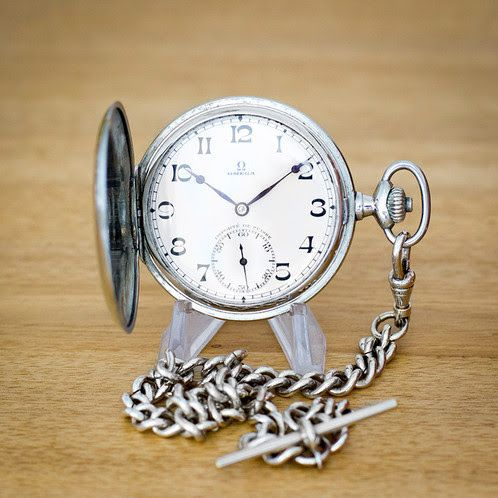 Omega Full Hunter Pocket Watch with Chain | Time Pocket Watches | Vintage Pocket Watches for Sale | Durham