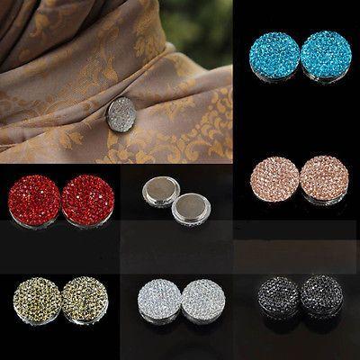 2pc Magnetic Round Hijab Pin Headscarf Abaya Clasp Brooch Shawl Magnet Scarf Pin