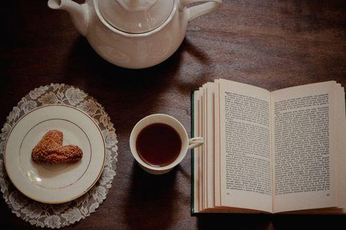 bir tarafında kurabiye bir tarafında kitap olan çay fincanı ne iyileştirici bir görünümdür