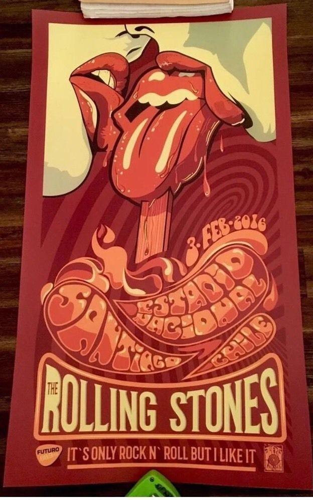 Official ROLLING STONES Lithograph Poster SANTIAGO CHILE 2016 | Entertainment Memorabilia, Music Memorabilia, Rock & Pop | eBay!