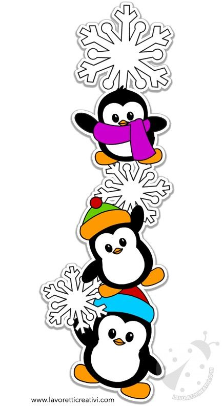 Decorazioni invernali con pinguini e fiocchi di neve