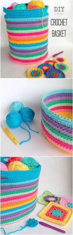 DIY Crochet Storage Basket Padrão Livre