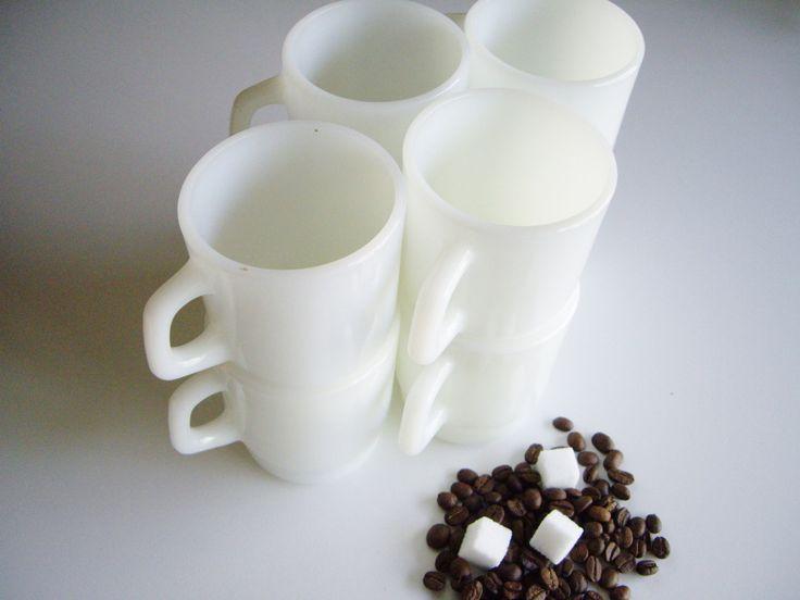 Vintage Milk Glass, Plain White, Stackable Mugs, Termocrisa, Set of 8, White Mugs, Mid Century, Mug Set, Cottage Dishes, RV Dishes by Vintagerous on Etsy