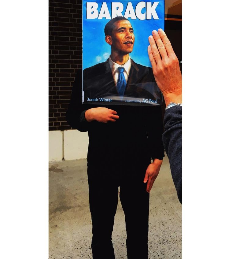 Barack by Jonah Winter for #bookfacefriday. Extra special thanks to @chris_crosby_gugig for posing for this one . #syosset #library #bookface #bookcovers #barackobama #thankyou #presidentobama #jonahwinter #childrensbooks #agford #books #reading #biography #obama #librariesofinstagram #bookstagram #strangehandpose #unitedstatesofamerica #syossetbookface @katherinetegenbooks