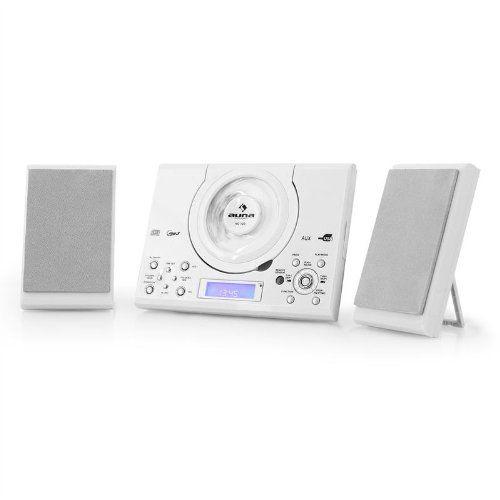 Auna MC-120 – Mini chaine stéréo ultra plate avec tuner radio FM, USB et lecteur CD MP3 (télécommande, fonction réveil) – Blanc: La micro…