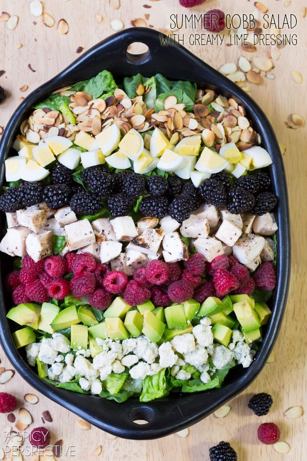 Summer Cobb Salad Recipe! #salad #cobbsalad #summer #berries