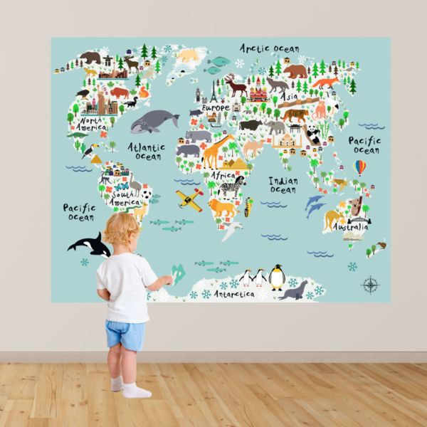 World Map - Peel and Stick Poster Sticker Fabric posters, Fabrics - best of world map white background