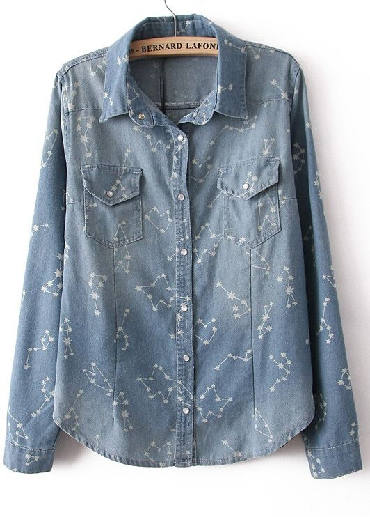 Light Blue Long Sleeve Constellation Print Denim Blouse
