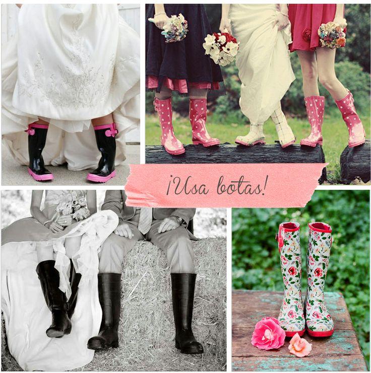 Botas en bodas con lluvia.: