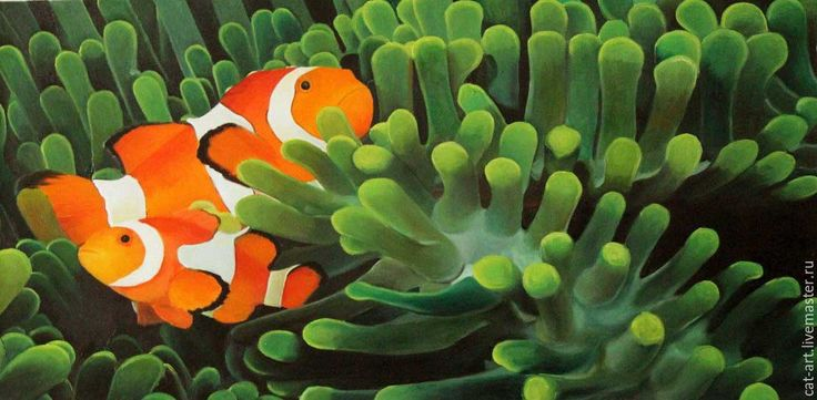 Купить Морской мир_немо_Авторская картина маслом на холсте - зеленый, рыбки, Немо, морская тема