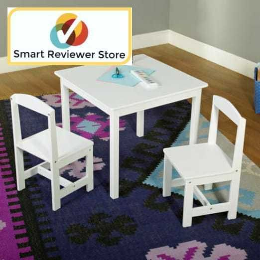 Kids Table and Chair Set 3-Piece Color White One table and two chairs By Hayden ltpgtLet your children unleash their imaginations when they sit and play on the Hayden Kids' Table and Chair Set. It is an ideal choice for kids to enjoy arts and crafts projects. They can also read while sitting at this table or play with their favorite toys. Your kids can even host tea parties using this children's table and chair set. It is an adorable piece that has multiple uses. It will blend well in...