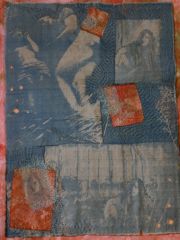 Small Mnemonic Quilt. Photo transfers onto silk; layering and stitch