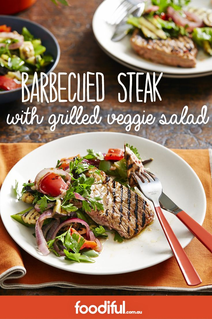 A marinated steak on the barbie goes nicely with a chargrilled vegetable salad. Perfect for a family Australia Day barbecue, it only takes 25 minutes and serves 4.