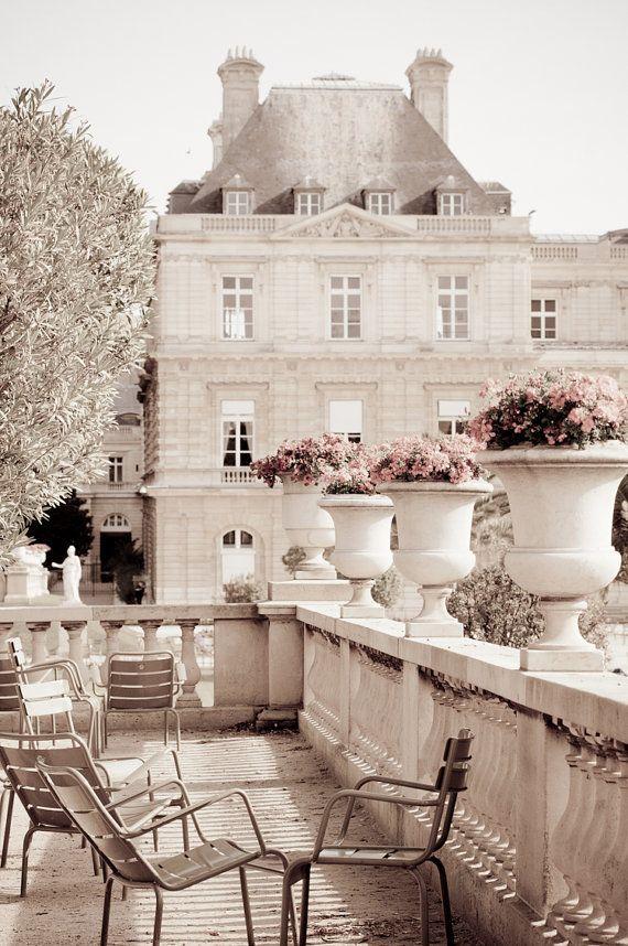 Paris Photography – Luxembourg Garden, Paris photograph decor, Neutrals, Gardens, Chairs, Sepia Fine Art Photograph, Urban Home Decor – Artwork