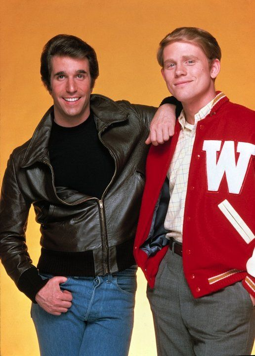 The Fonz and pal Richie Cunningham (aka Henry Winkler and Ron Howard)