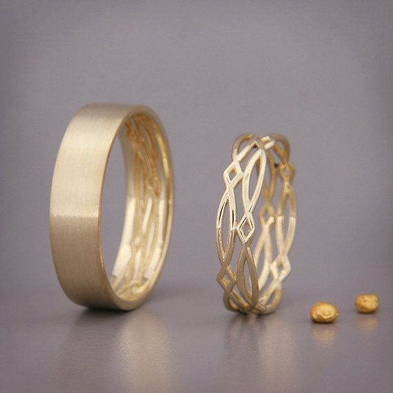 14K Gold Eternity Wedding Rings Set Handmade by AverieJewelry...adorable!!! Aspect for ring designs