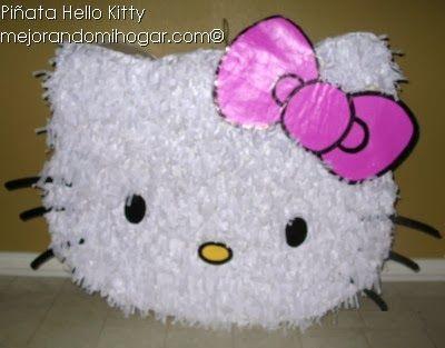 Como Hacer una Piñata de Cartón de Hello Kitty. Te Muestro el paso a paso con video y materiales para hacer una piñata de cartón, fácil económica y durable.