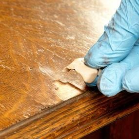 How to replace missing pieces of veneer on furniture and How to Refinish Furniture | The Family Handyman.