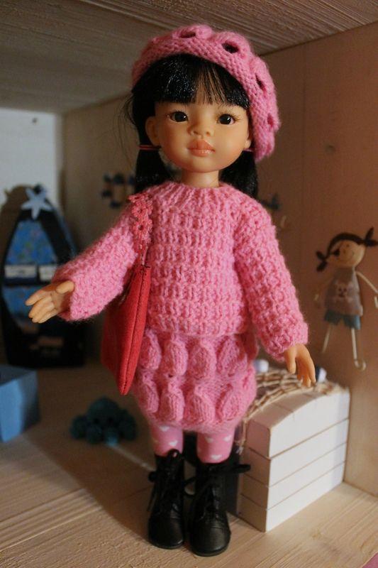 Lola en rose + tuto pull pour poupée Paola Reina, Chérie, Minouche...